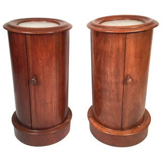 Pair of Mahogany Marble-Top Column Nightstands or End Tables