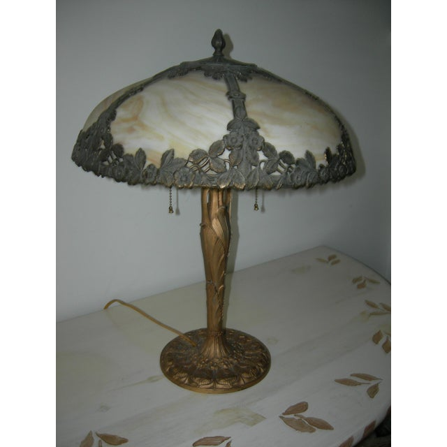 Late 19th Century Art Nouveau EM&Co. Lamp With Slag Glass Shade For Sale - Image 5 of 6