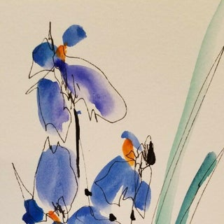 Iris Flowers Watercolor Painting Preview