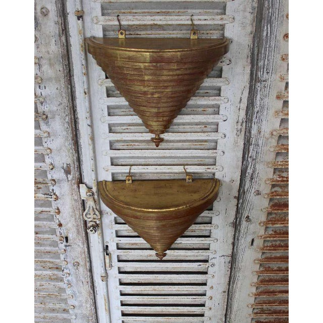 1980s Pair of Giltwood Wall Brackets For Sale - Image 5 of 11