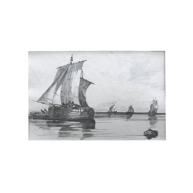 19th Century French Graphite Drawing of Ships For Sale