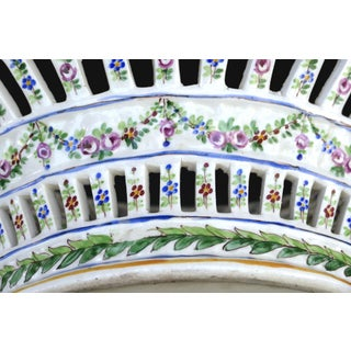 Sevres Reticulated Hand Painted Porcelain Basket With Scalloped Edge Preview