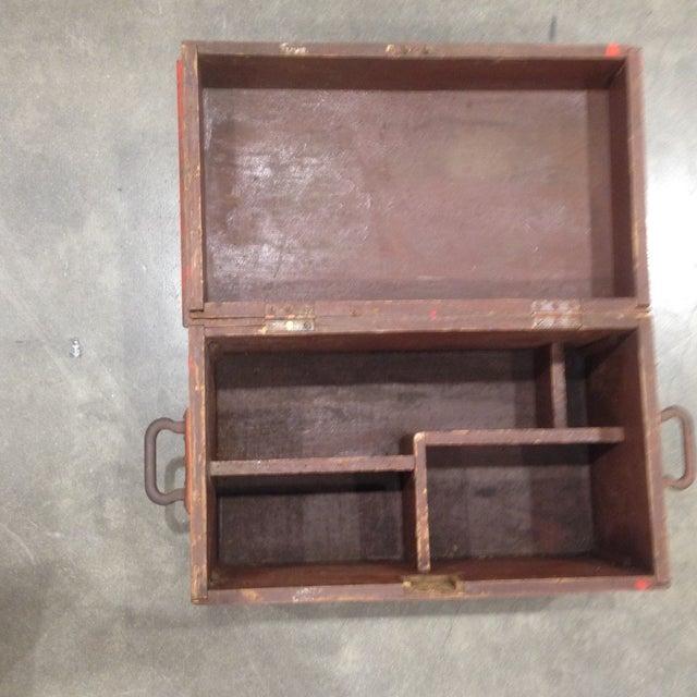 Rustic Antique Orange Wash Carpenter's Box - Image 5 of 5