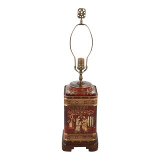 1960s Frederick Cooper Chinoiserie Tea Canister Converted Table Lamp For Sale