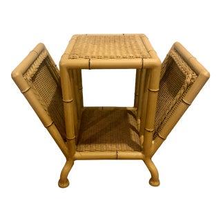 Vintage Boho Chic Lloyd Loom Magazine Rack Side Table For Sale