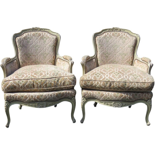 Louis XVI Style Distressed Cream Painted Bergere Chairs - A Pair For Sale