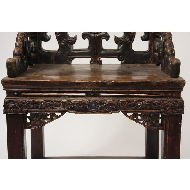 Pair of Chinese Qing Dynasty Carved Walnut Arm Chairs, Fushouyi For Sale - Image 4 of 5