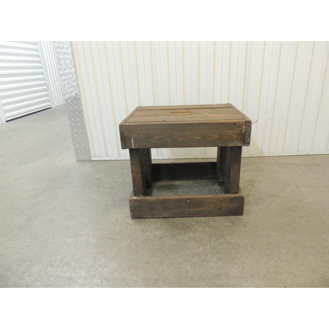 Wood Rustic Primitive Style Artisanal Rectangular Step Stool For Sale - Image 7 of 7