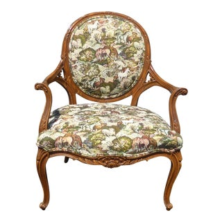French Country Style Floral Print Bergere Chair W Equestrian Horse Print For Sale
