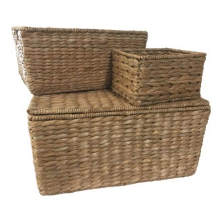 3 Sea Grass Baskets For Sale