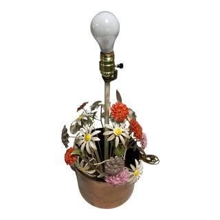 Mid-Century Floral Bouquet Tole Table Lamp For Sale