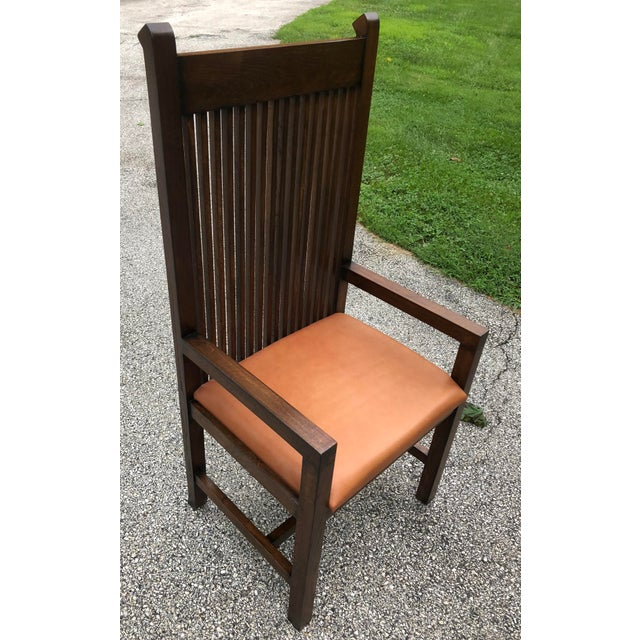 Country Vintage Mid-Century Frank Lloyd Wright Willets House Style Prairie Oak Armchair For Sale - Image 3 of 13