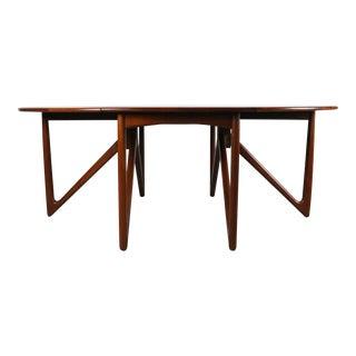 Drop-Leaf Teak Table by Peter Hvidt and Orla Mølgaard-Nielsen For Sale