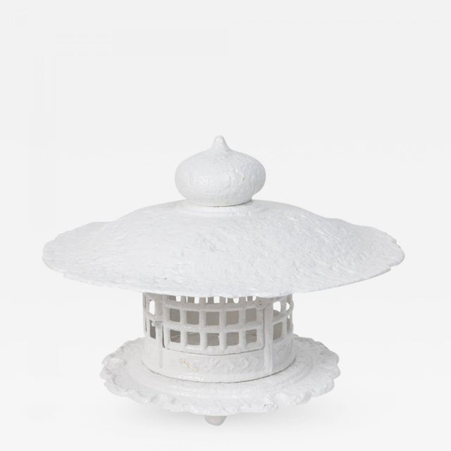 Cast Iron 1960s Large Scale White Lacquer Cast Iron Pagoda For Sale - Image 7 of 7