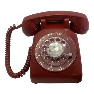 Red 1970 Rotary Dial Telephone For Sale