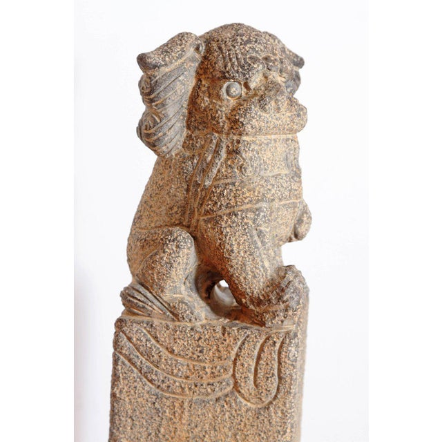 Pair of Chinese Foo Dog Hitching Posts For Sale - Image 12 of 13