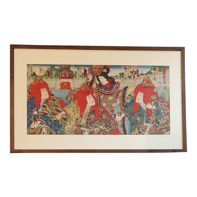 Late 19th Century Antique Meiji Period Kunichika Japanese Triptych Woodblock Print For Sale