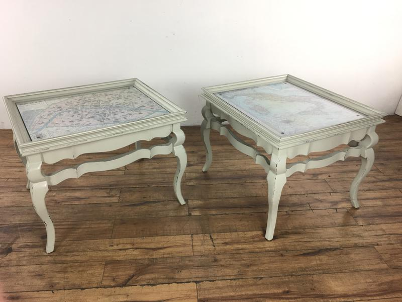 Ordinaire Wood French Style Distressed Map Top End Tables   A Pair For Sale   Image 7