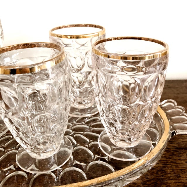 Art Deco 1920s Pressed Glass Cocktail Set For Sale - Image 3 of 5