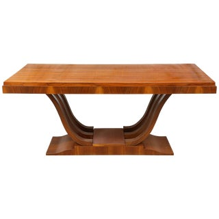 French Art Deco Mahogany Rectangular Extension Dining Table For Sale