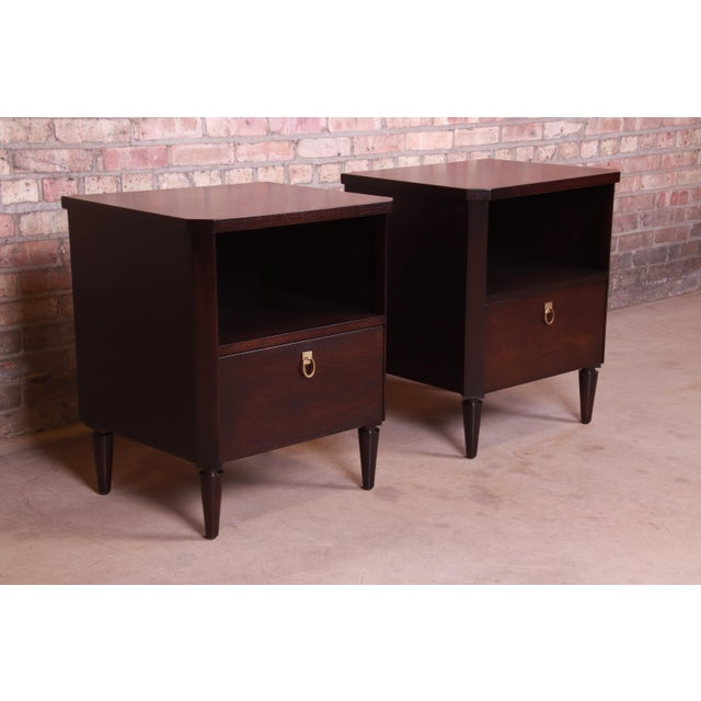 Robsjohn-Gibbings for Widdicomb Mid-Century Modern Walnut Nightstands, Newly Refinished For Sale - Image 13 of 13
