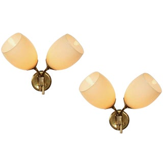 1950s Scandiavian Paavo Tynell for Taito Oy Double-Glass Sconces - a Pair