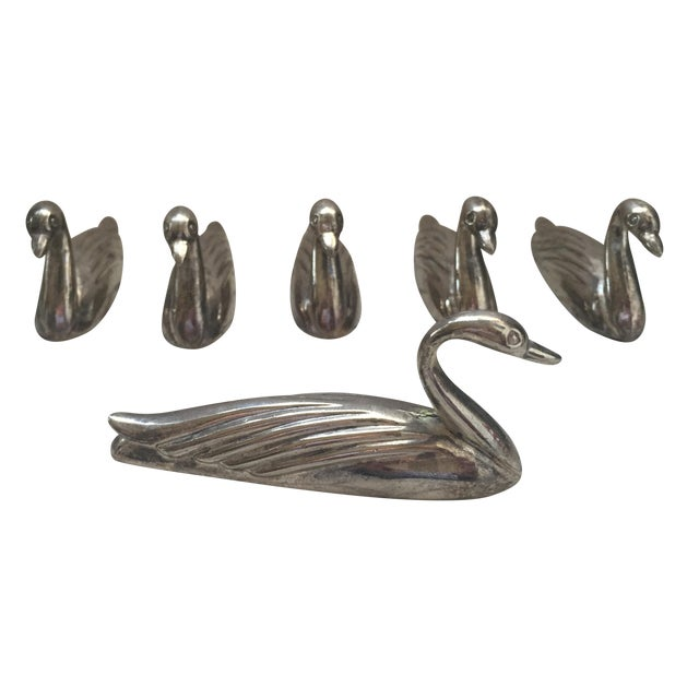 Mid-Century English Silver Swans Knife Rests - 6 For Sale