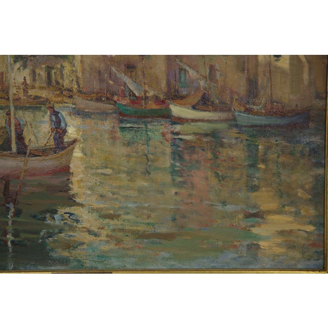 Canvas French Impressionism Antique Oil Painting of Fishing Harbor by Paul Balmigere For Sale - Image 7 of 13