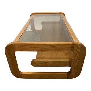 1970s Mid-Century Modern Lou Hodges Oak Coffee Table For Sale