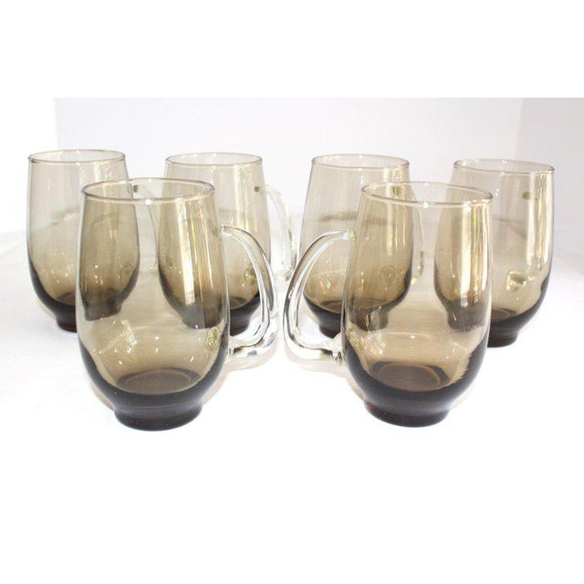1960s Set of Six Mid-Century Modern Tinted Glass Mugs by Libbey Glass Co. For Sale - Image 5 of 13