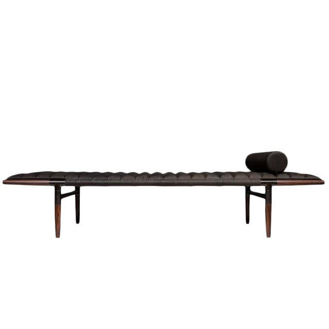 Erickson Aesthetics Rosewood Daybed in Horween Leather For Sale