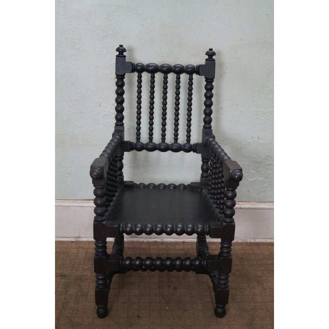 Great antique 19th Century solid walnut spool turned arm chair. High quality, solid walnut arm chair w/ turned legs &...