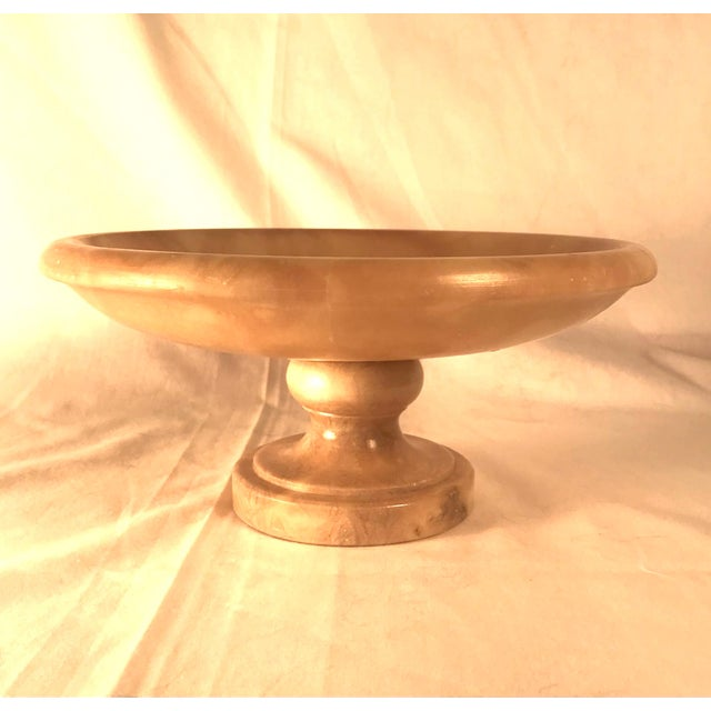 Cream Vintage 1930s Italian Alabaster Footed Bowl Pedestal Dish Centerpiece For Sale - Image 8 of 8