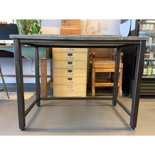 Industrial Custom Soapstone and Metal Standing Writing Desk Preview