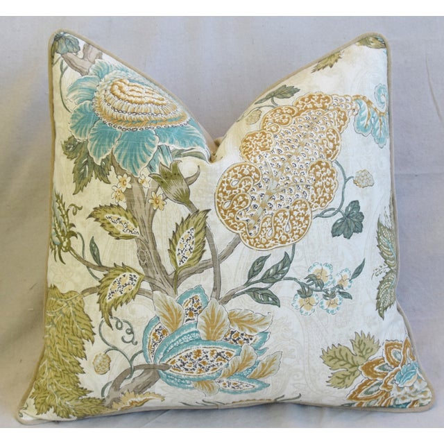 """Early 21st Century French Jacobean Floral & Velvet Feather/Down Pillow 24"""" Square For Sale - Image 5 of 6"""