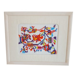 Mid Century Multi Colored Embroidered Tribal Textile Art Framed For Sale