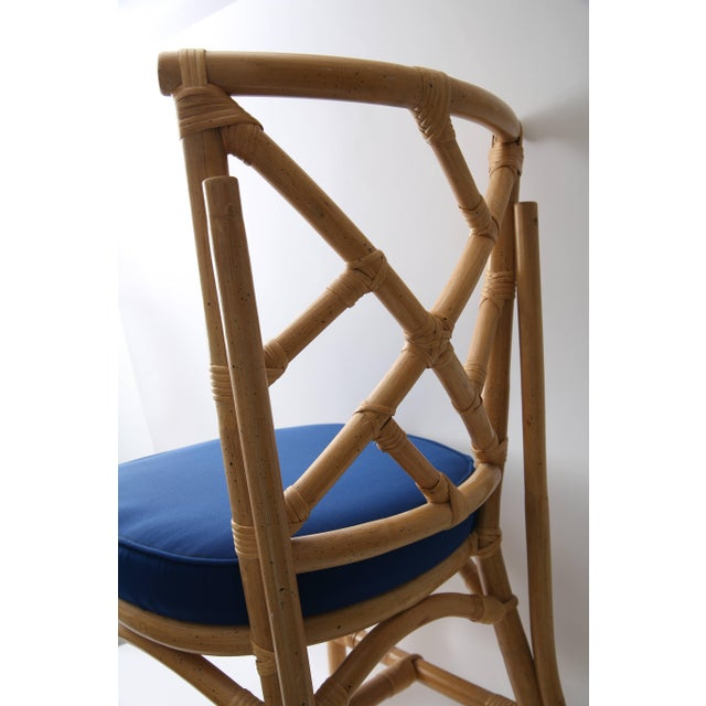 Blue Set of Four Bamboo Side Chairs For Sale - Image 8 of 13