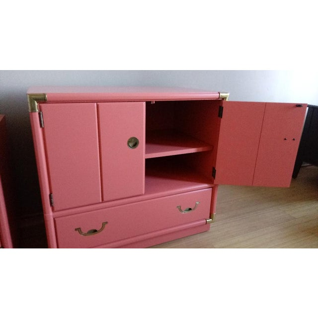 Drexel Accolade Campaign Coral Nightstands - a Pair For Sale In Phoenix - Image 6 of 10