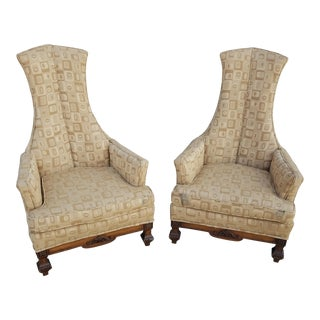 1960's Phyllis Morris Style Exaggerated High Back Club Chairs - A Pair For Sale