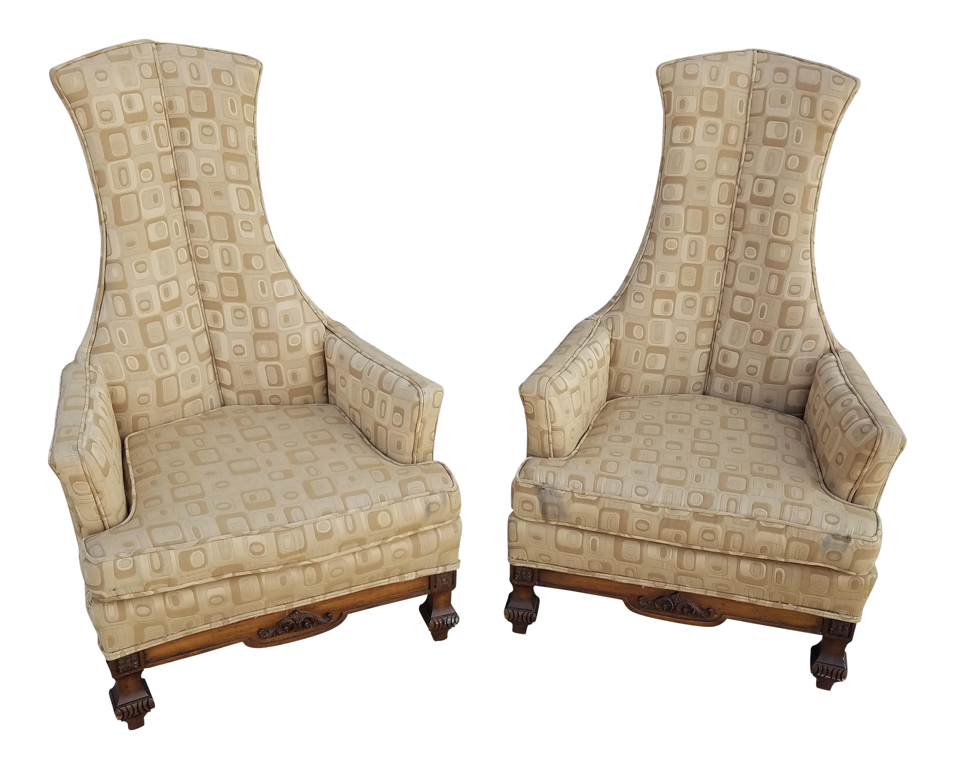 1960u0027s Phyllis Morris Style Exaggerated High Back Club Chairs   A Pair