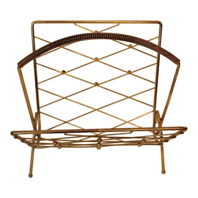 MId-Century Brass Magazine Rack For Sale