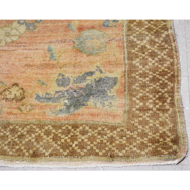 1930s Vintage Turkish Oushak Hand Knotted Organic Wool Fine Weave Rug,5'x10' For Sale - Image 5 of 6