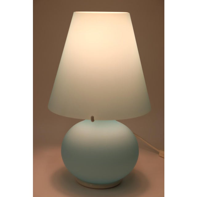 "Murano Table Lamp Hand Blown Aqua Glass. ""Paralume"" night table was made by Murano Due. Dimensions Height:14 1/4"" Diameter..."