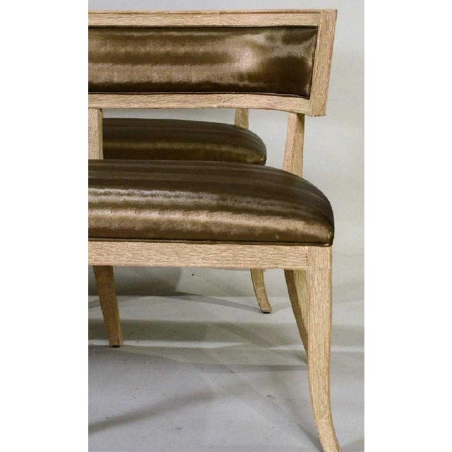 Pair of Cerused Oak Neoclassical Style Benches For Sale - Image 4 of 7