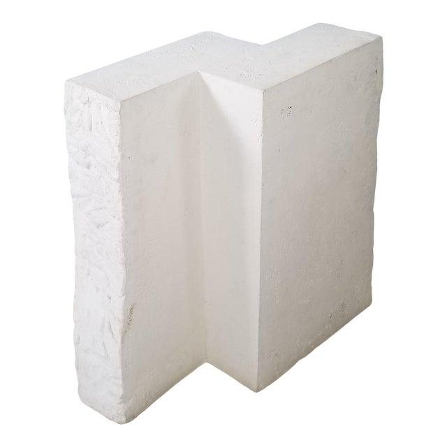 Postmodern Geometric White Plaster Pedestal For Sale