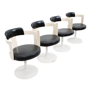 Set of 4 White & Black Space Age Swivel Chairs For Sale