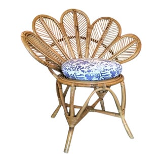 1970s Rattan Flower Chair For Sale