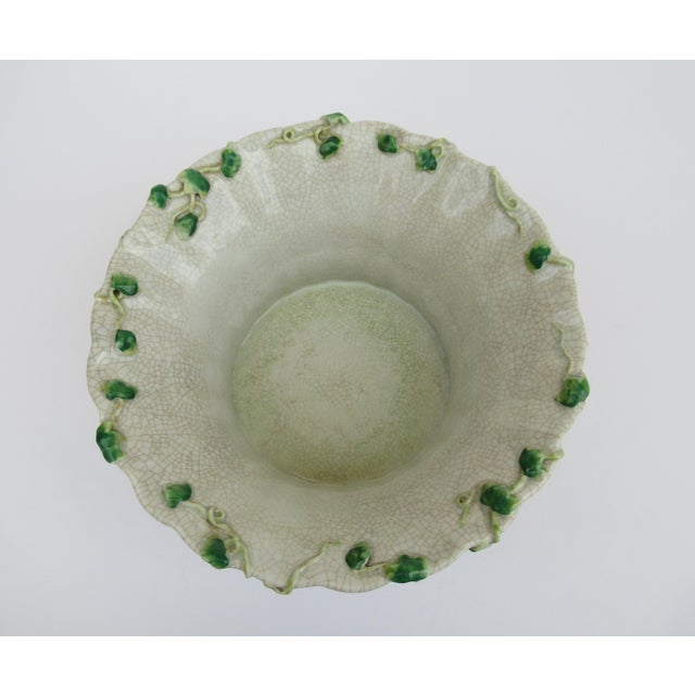 Vintage Ceramic Crackle Center Bowl With Adorned English Ivy by United Wilson/Hong Kong For Sale - Image 9 of 13