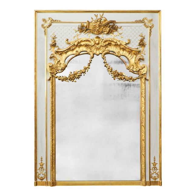French 19th Century Louis XVI Gold Leaf Trumeau Mirror For Sale - Image 3 of 9