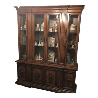 Traditional Cherry Wood China Cabinet For Sale